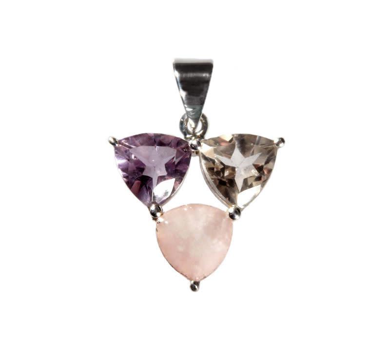 Zilveren hanger gouden driehoek of harmonie driehoek