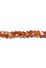 Agaat (abrikoos) kralen rond 6 mm (streng van 40 cm)