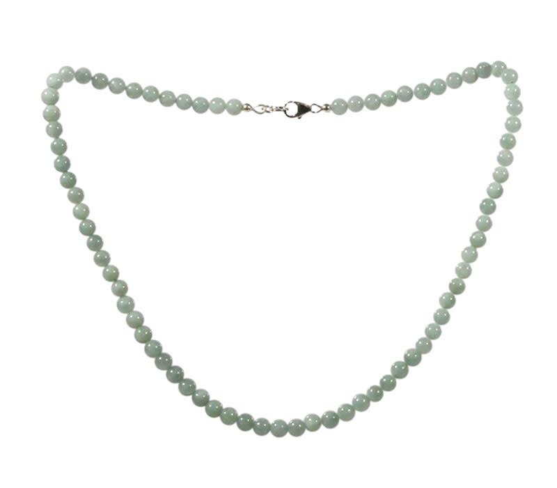 Jade (jadeiet) effen groen ketting 6 mm kralen