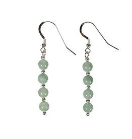 Zilveren oorbellen jade (jadeiet) 4 bolletjes