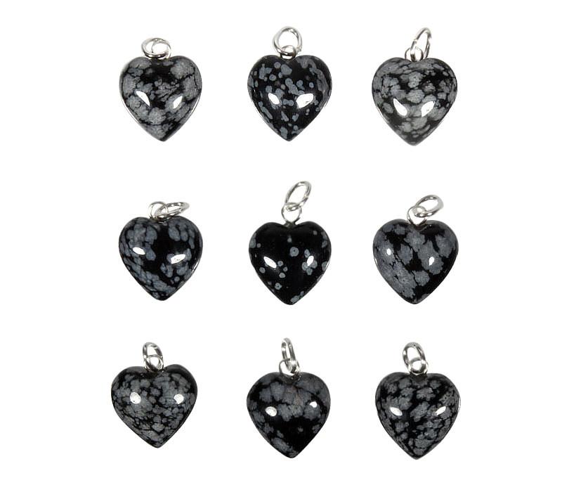 Obsidiaan (sneeuwvlok) hanger hart 15 mm met zilveren oogje