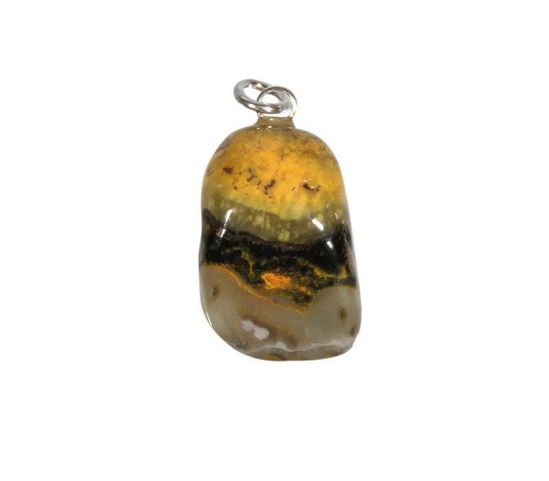 Bumble bee jaspis hanger met zilveren oogje