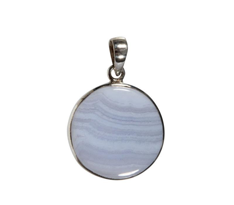 Zilveren hanger chalcedoon | rond 2,6 cm