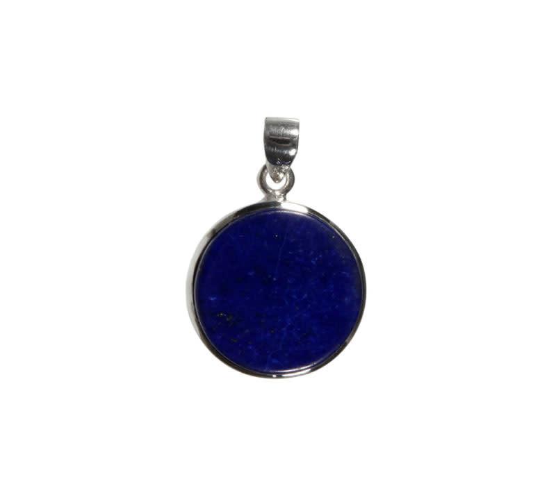 Zilveren hanger lapis lazuli | rond 2,1 cm