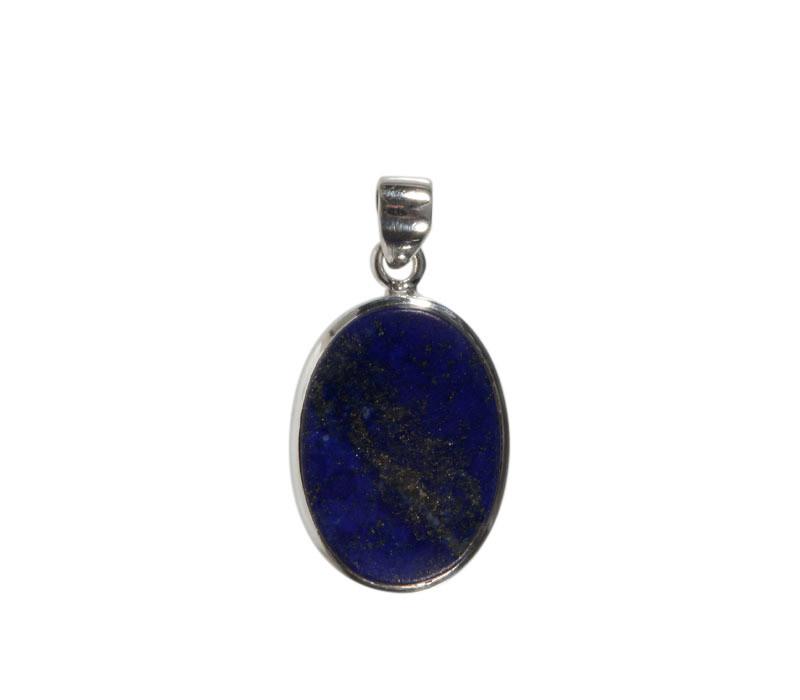 Zilveren hanger lapis lazuli | ovaal 2,4 x 1,7 cm