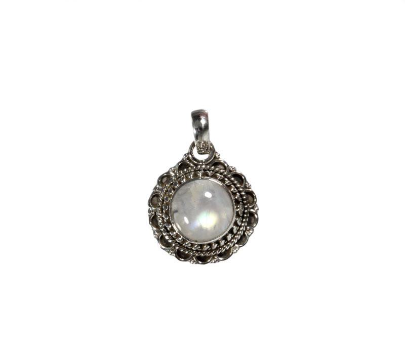 Zilveren hanger maansteen (regenboog)   rond 1 cm