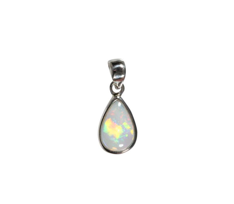 Zilveren hanger opaal (edel) | druppel 1,4 x 0,9 cm