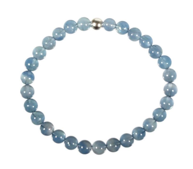 Fluoriet (blauw) armband 18 cm | 6 mm kralen