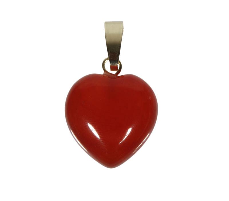 Carneool hanger hart met 14k gouden oogje