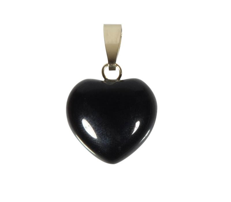 Obsidiaan (zwart) hanger hart met 14k gouden oogje