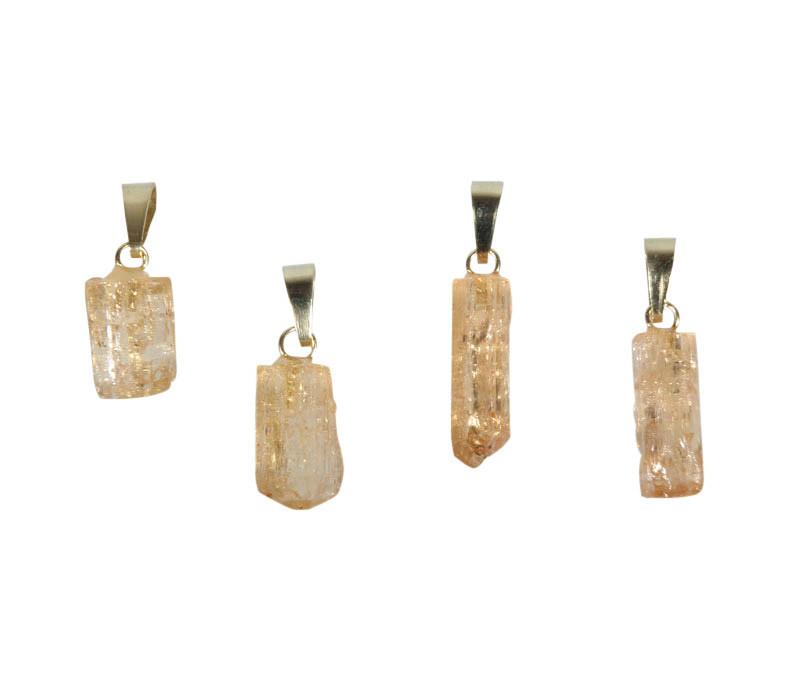 Topaas (goud of edel) hanger kristal klein met 14k gouden oogje