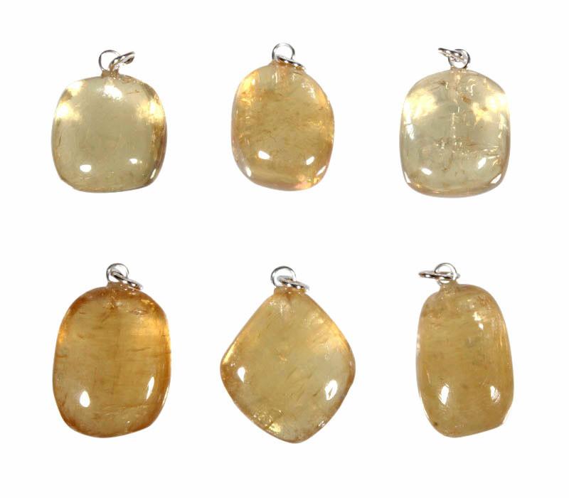 Calciet (honing) hanger met zilveren oogje