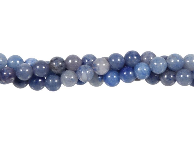 Aventurijn (blauw) kralen rond 6 mm (streng van 40 cm)
