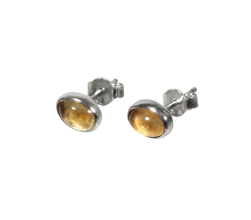 Zilveren oorstekers citrien (verhit) ovaal cabochon