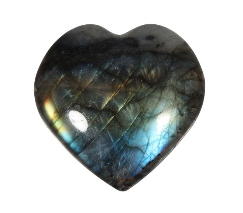 Labradoriet edelsteen hart A-kwaliteit 5 cm