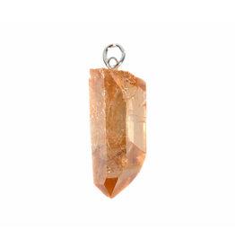 Tangerine aura kwarts hanger kristal met zilveren oogje