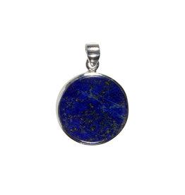 Zilveren hanger lapis lazuli   rond 2,4 cm (2)
