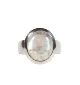 Zilveren ring maansteen (regenboog) maat 17 | 1,3 x 1,1 cm