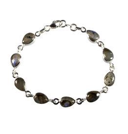 Zilveren armband labradoriet | druppel 9 stenen