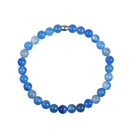 Agaat (blauw gekleurd) armband 18 cm | 6 mm kralen