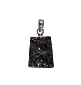 Zilveren hanger toermalijn (zwart) | ruw 2,2 x 1,7 cm