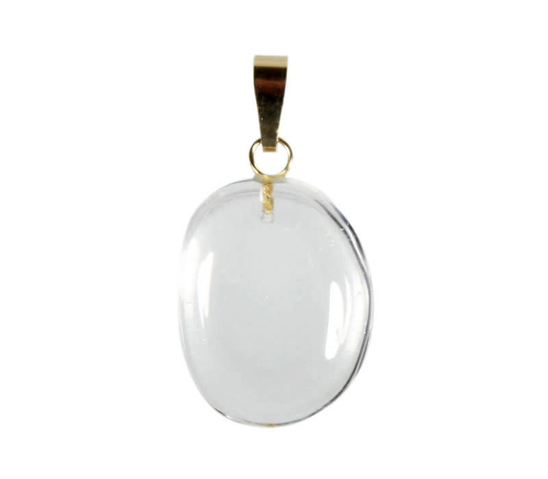 Bergkristal hanger A-kwaliteit ovaal met 14k gouden oogje