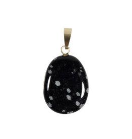 Obsidiaan (sneeuwvlok) hanger ovaal met 14k gouden oogje
