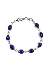 Zilveren armband lapis lazuli | druppel 9 stenen