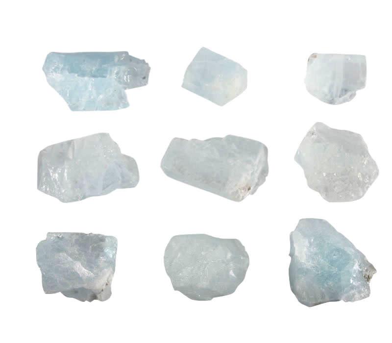 Aquamarijn (lichtblauw) ruw 2 - 5 gram