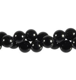 Toermalijn (zwart) kralen rond 12 mm (streng van 40 cm)