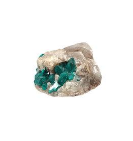 Dioptaas kristallen in matrix 2,4 x 4,9 x 3,6 cm | 48,06 gram