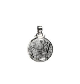 Zilveren hanger toermalijnkwarts   rond 1,8 cm