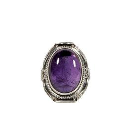 Zilveren ring amethist maat 17 1/2 | ovaal 1,7 x 1,2 cm