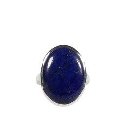 Zilveren ring lapis lazuli maat 18 1/2   ovaal 2,1 x 1,5 cm