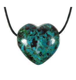 Chrysocolla hanger hart doorboord