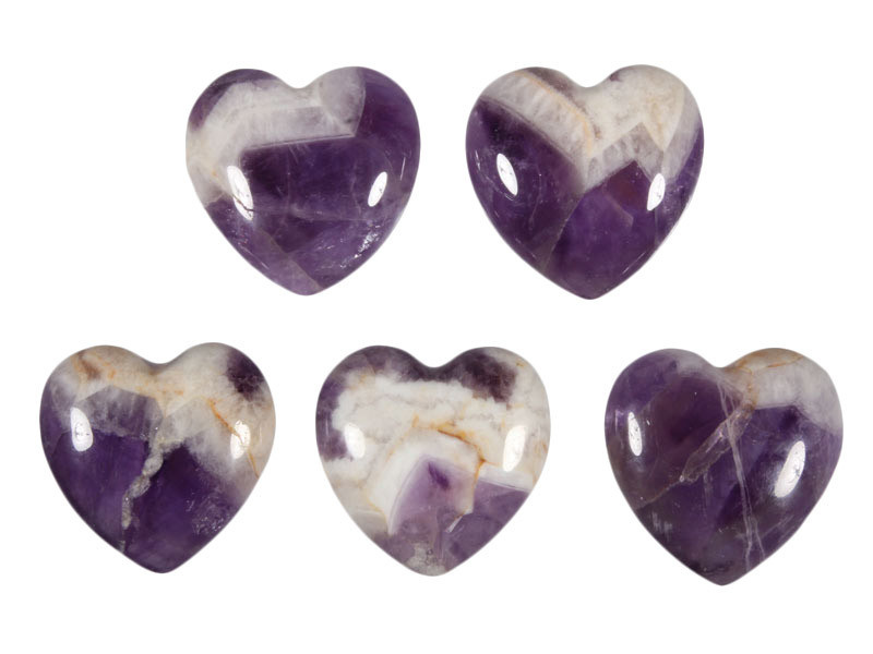 Amethistkwarts edelsteen hart 3 cm