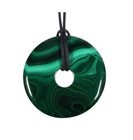 Malachiet hanger donut 4 cm