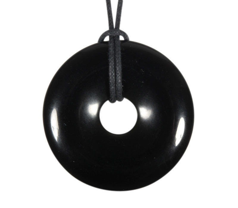 Obsidiaan (zwart) hanger donut 4 cm