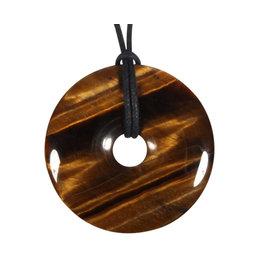 Tijgeroog hanger A-kwaliteit donut 4 cm