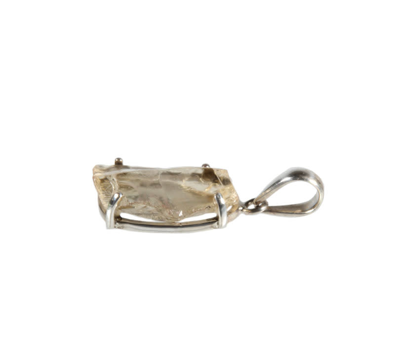 Zilveren hanger labradoriet (goud) | ruw gezet 2,4 x 1,5 cm