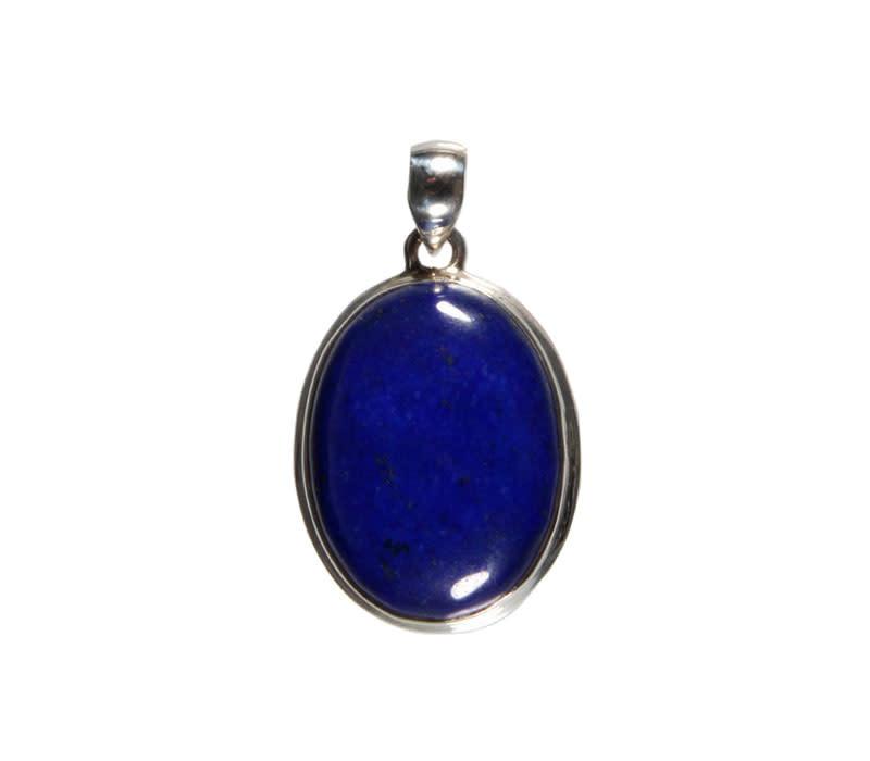 Zilveren hanger lapis lazuli | ovaal 2,7 x 2 cm