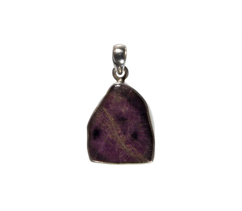 Zilveren hanger purpuriet | ruw 2,2 x 1,8 cm
