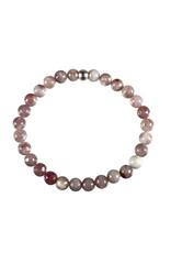 Toermalijn (roze) met lepidoliet in kwarts armband 18 cm | 6 mm kralen