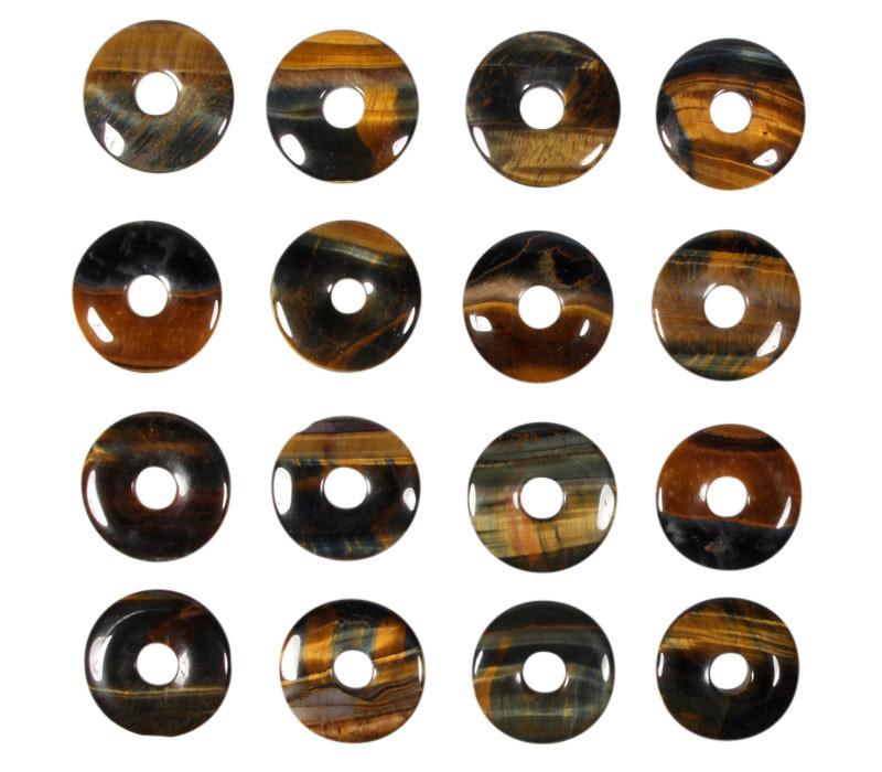 Tijgeroog met valkenoog hanger donut 3 cm