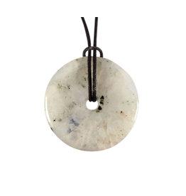 Maansteen (regenboog) hanger donut 4 cm