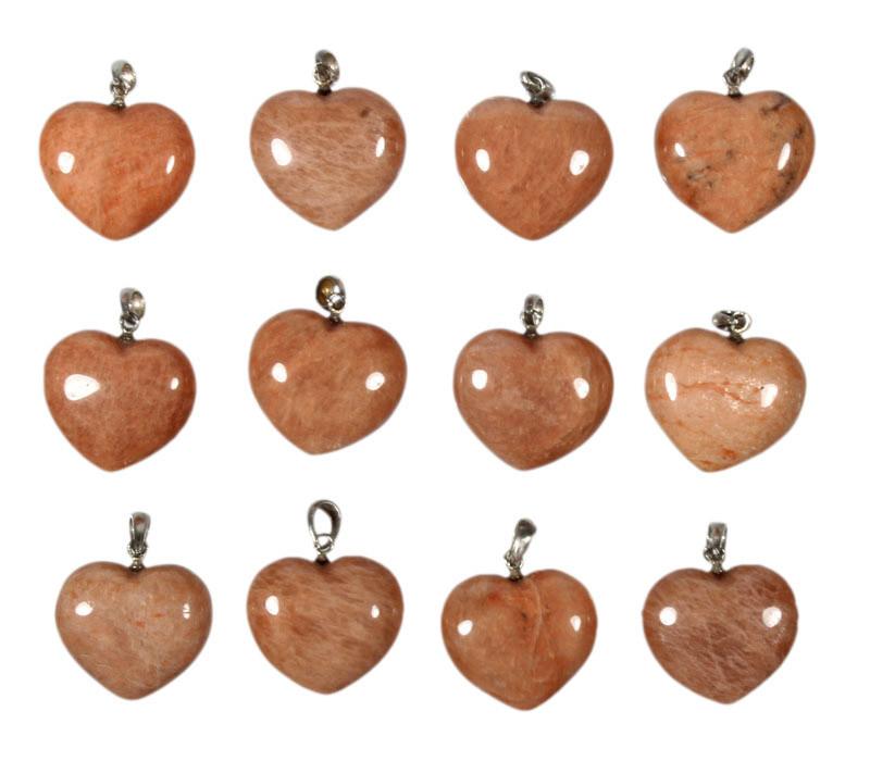 Zilveren hanger maansteen hart 2 cm