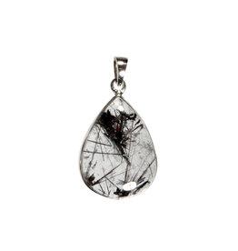 Zilveren hanger toermalijnkwarts | druppel 2,4 x 1,7 cm