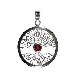 Zilveren hanger granaat levensboom