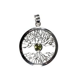 Zilveren hanger peridoot levensboom