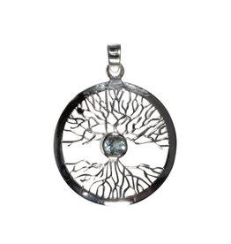 Zilveren hanger topaas (blauw) levensboom